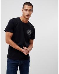 schwarzes und weißes bedrucktes T-Shirt mit einem Rundhalsausschnitt von Jack & Jones