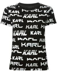 schwarzes und weißes bedrucktes T-Shirt mit einem Rundhalsausschnitt von Karl Lagerfeld