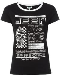 schwarzes und weißes bedrucktes T-Shirt mit einem Rundhalsausschnitt von Kenzo