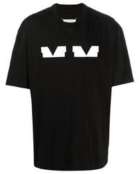 schwarzes und weißes bedrucktes T-Shirt mit einem Rundhalsausschnitt von Maison Margiela