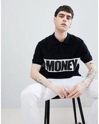 schwarzes und weißes bedrucktes T-Shirt mit einem Rundhalsausschnitt von Money