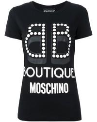 schwarzes und weißes bedrucktes T-Shirt mit einem Rundhalsausschnitt von Moschino