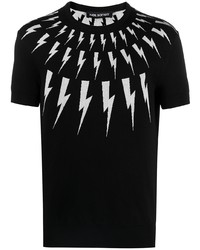 schwarzes und weißes bedrucktes T-Shirt mit einem Rundhalsausschnitt von Neil Barrett