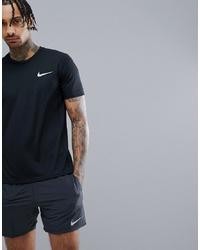 schwarzes und weißes bedrucktes T-Shirt mit einem Rundhalsausschnitt von Nike Running