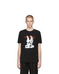 schwarzes und weißes bedrucktes T-Shirt mit einem Rundhalsausschnitt von Off-White