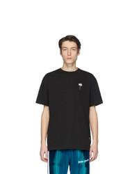 schwarzes und weißes bedrucktes T-Shirt mit einem Rundhalsausschnitt von Palm Angels