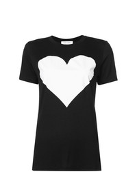 schwarzes und weißes bedrucktes T-Shirt mit einem Rundhalsausschnitt von Prabal Gurung