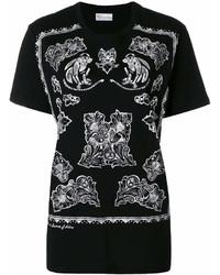 schwarzes und weißes bedrucktes T-Shirt mit einem Rundhalsausschnitt von RED Valentino