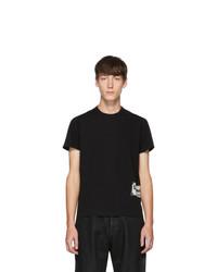 schwarzes und weißes bedrucktes T-Shirt mit einem Rundhalsausschnitt von Rick Owens