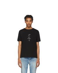 schwarzes und weißes bedrucktes T-Shirt mit einem Rundhalsausschnitt von Saint Laurent
