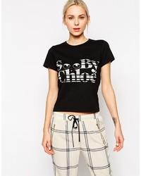 schwarzes und weißes bedrucktes T-Shirt mit einem Rundhalsausschnitt von See by Chloe