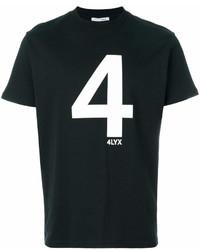 schwarzes und weißes bedrucktes T-Shirt mit einem Rundhalsausschnitt