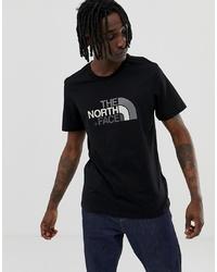 schwarzes und weißes bedrucktes T-Shirt mit einem Rundhalsausschnitt von The North Face