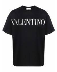 schwarzes und weißes bedrucktes T-Shirt mit einem Rundhalsausschnitt von Valentino