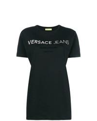 schwarzes und weißes bedrucktes T-Shirt mit einem Rundhalsausschnitt von Versace Jeans