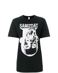 schwarzes und weißes bedrucktes T-Shirt mit einem Rundhalsausschnitt von Yang Li