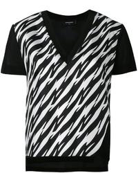 schwarzes und weißes bedrucktes T-Shirt mit einem V-Ausschnitt von Dsquared2
