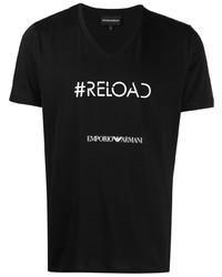 schwarzes und weißes bedrucktes T-Shirt mit einem V-Ausschnitt von Emporio Armani