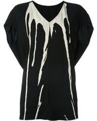 schwarzes und weißes bedrucktes T-Shirt mit einem V-Ausschnitt von Rick Owens