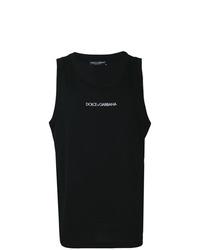 schwarzes und weißes bedrucktes Trägershirt von Dolce & Gabbana