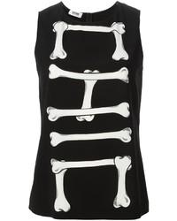 schwarzes und weißes bedrucktes Trägershirt von Moschino Cheap & Chic