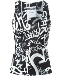schwarzes und weißes bedrucktes Trägershirt von Moschino