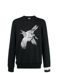 schwarzes und weißes besticktes Sweatshirt von Lanvin
