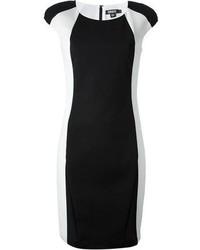 schwarzes und weißes figurbetontes Kleid von DKNY