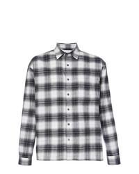 schwarzes und weißes Flanell Langarmhemd mit Schottenmuster