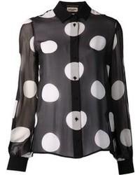 schwarzes und weißes gepunktetes Businesshemd von Saint Laurent