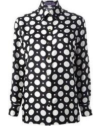 schwarzes und weißes gepunktetes Businesshemd von Ungaro