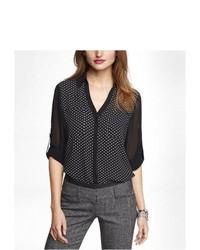 schwarzes und weißes gepunktetes Chiffon Businesshemd