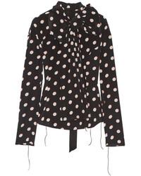 schwarzes und weißes gepunktetes Chiffon Businesshemd von Marc Jacobs