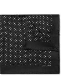 schwarzes und weißes gepunktetes Einstecktuch von Saint Laurent