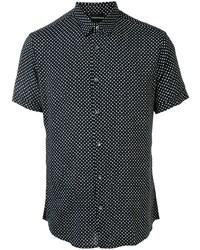 schwarzes und weißes gepunktetes Kurzarmhemd von Emporio Armani