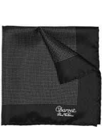 schwarzes und weißes gepunktetes Seide Einstecktuch von Charvet