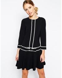 schwarzes und weißes gerade geschnittenes Kleid von Ted Baker