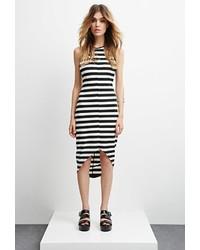 schwarzes und weißes horizontal gestreiftes figurbetontes Kleid