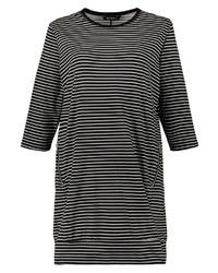 schwarzes und weißes horizontal gestreiftes Freizeitkleid von Ulla Popken