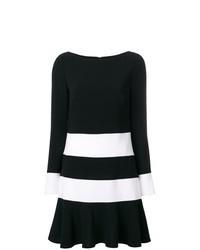 schwarzes und weißes horizontal gestreiftes gerade geschnittenes Kleid