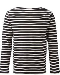 schwarzes und weißes horizontal gestreiftes Langarmshirt