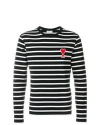 schwarzes und weißes horizontal gestreiftes Langarmshirt von AMI Alexandre Mattiussi