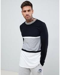 schwarzes und weißes horizontal gestreiftes Langarmshirt von ASOS DESIGN