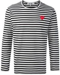 schwarzes und weißes horizontal gestreiftes Langarmshirt von Comme des Garcons