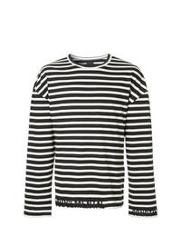 schwarzes und weißes horizontal gestreiftes Langarmshirt von Juun.J