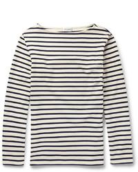 schwarzes und weißes horizontal gestreiftes Langarmshirt von Saint Laurent