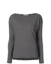 schwarzes und weißes horizontal gestreiftes Langarmshirt von Vince