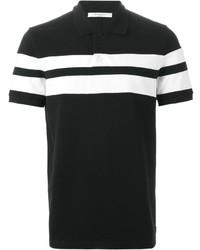schwarzes und weißes horizontal gestreiftes Polohemd