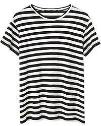 schwarzes und weißes horizontal gestreiftes T-Shirt mit einem Rundhalsausschnitt