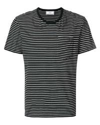 schwarzes und weißes horizontal gestreiftes T-Shirt mit einem Rundhalsausschnitt von Ami Paris